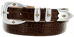 Tuscon Gold Italian Calfskin Leather Men\'s Designer Dress Golf Belt (34, Alligator Brown)