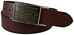 Levi\'s Men\'s Bridle Leather Belt, Brown, 34
