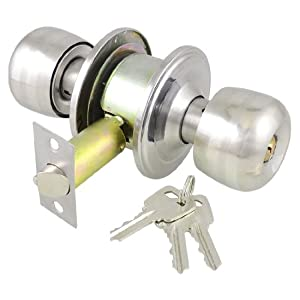 Office Home Silver Tone Keyed Round Door Knob Lock Lockset w Keys from sourcingmap