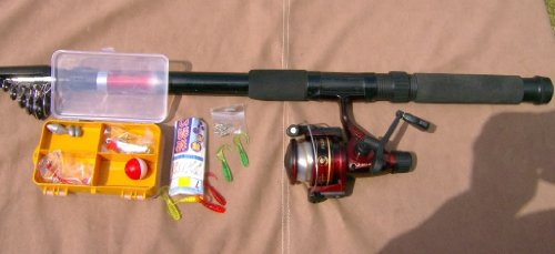 Travel Fishing Kit. 14ft Telescopic Rod + Reel + Accessories + Carry Bag