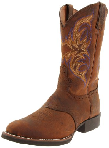 """Justin Boots Men's Stampede Collection 11"""" Cattleman Boot Low Profile Round Single Stitch Toe,Dark Brown Rawhide,8.5 EE US"""