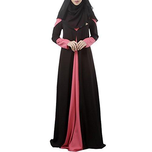 Pinksponge Fashion Kaftan Abaya Jilbab Islamic Muslim Women Cocktail Maxi Long Dress (L, Black)