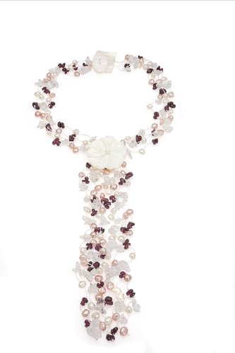 Four-strand Freshwater Pearl Scarf Necklace with Quartz Chip Accents