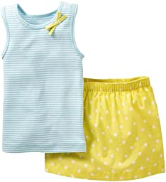 Carter\'s 2 Piece Dot Print Skirt Set (Baby) - Turquoise-NB