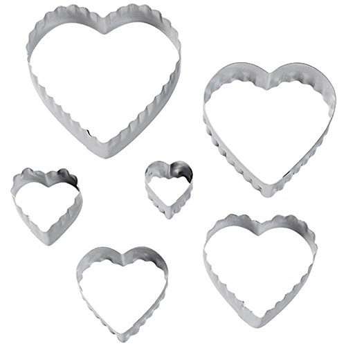 Wilton 417-2588 6-Piece Nesting Fondant Double Sided Cut Out Cutters, Hearts (Heart Cutters compare prices)