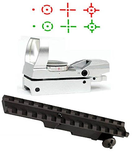 Ultimate Arms Gear Mauser K98 Rifle Weaver Picatinny Rail Scope Sight Mount + Silver CQB 4 Reticle Dual Red / Green Open Reflex Sight with Weaver-Picatinny Rail Mount - Package Kit Set