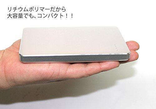 【Amazon.co.jp限定】SMILE WORLD 10,000mAh 大容量 薄型 モバイルバッテリー 2USBポート同時充電可能 リチウムポリマー電池使用 iPhone/Android/Xperia/各種スマホ/タブレット 等 対応 メタルシルバー SWA-1-SL