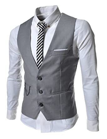 TheLees Mens slim fit chain point 3 button vest Gray Large(US Medium)