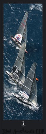 Fleet to the Mark, 32nd America's Cup Art Poster Print by Gilles Martin-Raget, 13x38