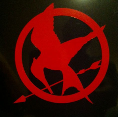 Hunger Games Mocking Jay Sticker Decal Red 4 x 4 inches