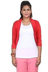 Yaari Spun Viscose Fashion Shrug (Large, Red)