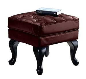 Tufted Leather Ottoman, OTTOMAN, BURGUNDY