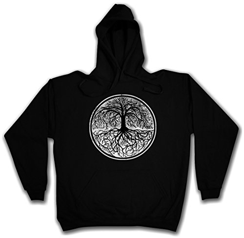 YGGDRASIL TREE LOGO II PULLOVER SWEATER SWEATSHIRT MAGLIONE FELPE CON CAPPUCCIO - Arsen Celtic Germanic Celti Teutoni Irminsul Of Thor Life Odin Loki Tree of Life Jörmungandr Ragnarök Odhin Walhalla Taglie S - 2XL