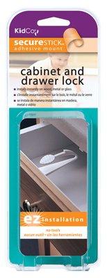 Kidco S331 Cabinet & Drawer Lock, Adhesive, White - Quantity 6 - 1