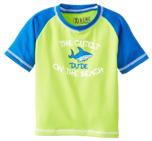 Ixtreme Little Boys Cutest On The Beach One Piece Rash Guard Tee, Lime 4T front-705712