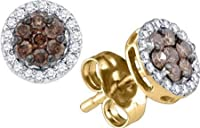 0.25ctw Chocolate Champagne Cognac Brown & White Diamond Halo Stud Earrings by TheJewelryMaster