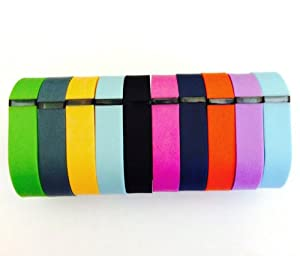 Set 10 Colors Large L Replacement Bands for Fitbit FLEX Only With Clasps /No tracker/ 1pc Orange 1pc Violet 1pc Red (Tangerine) 1pc Teal (Blue/Green) 1pc Navy 1pc Green (Lime) 1pc Black 1pc Slate (Blue Grey) 1pc Purple/Pink 1pc Light Blue Bands Wireless Activity Bracelet Sport Wristband Fit Bit Flex Bracelet Sport Arm Band Clasp Armband