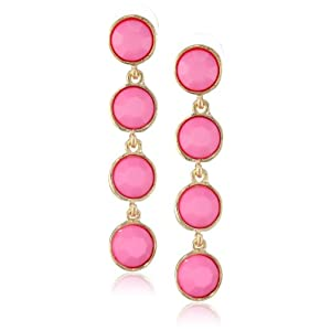 Hot Pink Circular Gold Tone Drop Earrings