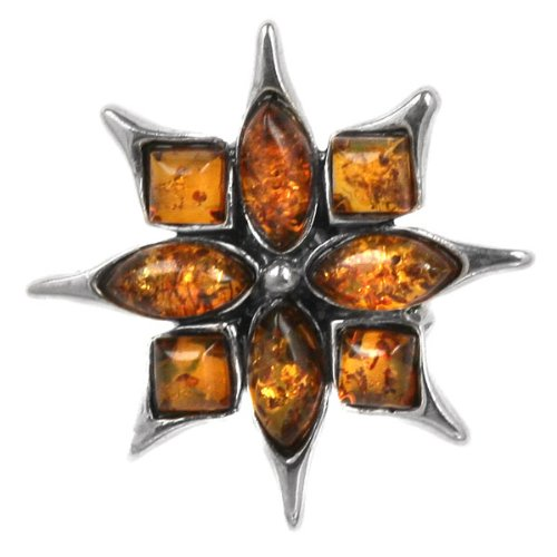Baltic Honey Amber Sterling Silver Flaming Star Pin