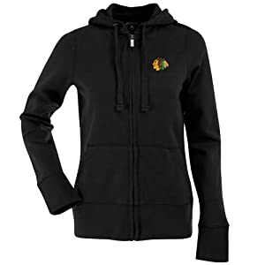 Chicago Blackhawks Ladies Full-Zip Black Signature Hoodie by Antigua by Antigua