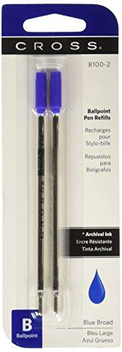 Cross-Bleu-Lot de 2 recharges de stylo à bille Pointe large - 8100-2