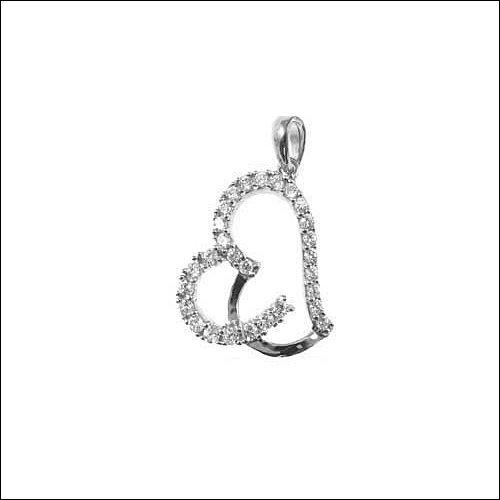 14k White Gold, Heart Pendant Charm Lab Created Gems 12mm Wide promo code 2015