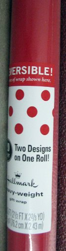 Hallmark Gift Wrap RSR114 Red Reversible Roll Wrap