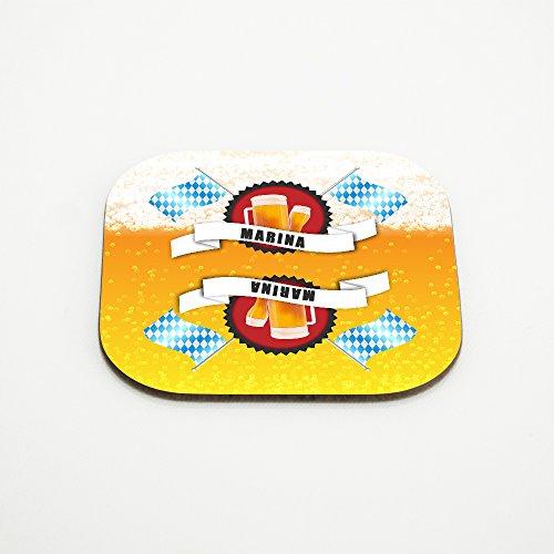 Untersetzer für Bier-Gläser mit Namen Marina und schönem Bier-Motiv mit weiss-blauen Flaggen