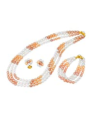 Sri Jagdamba Pearls Gold Plated, Metal, Pearl & Silver Pendant For Women -Peach, White, Gold & Silver