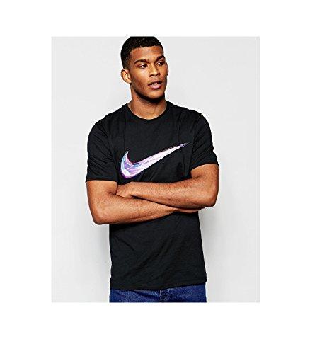 Tee Swoosh Nike-Streak-Maglietta da uomo NERO Negro (Black/Black) L