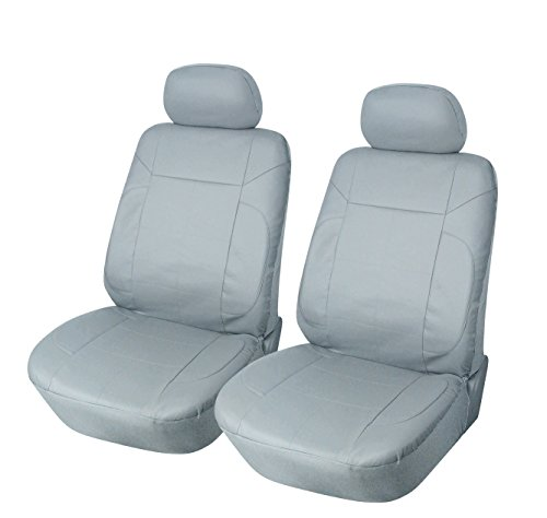 Find Out 115302 Grey Leather Like 2 Front Car Seat Covers