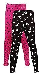 Little Stars Girls' Cotton Regular Fit Leggings- Pack of 2 (Po2Gpl_3217_22, Multi-Colour, 3-4 Years)
