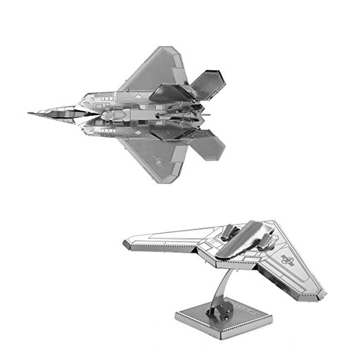 Fascinations Metal Earth 3D Laser Cut Steel Models - F22 Raptor AND Stealth Bomber RQ-170 Sentinel = SET OF 2 - 1
