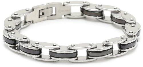 Men's Stainless Steel Two Tone Bike Link Bracelet, 8.5
