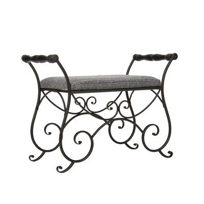 Safavieh American Home Collection Manningtree Black Iron and Dark Grey Vanity Stool
