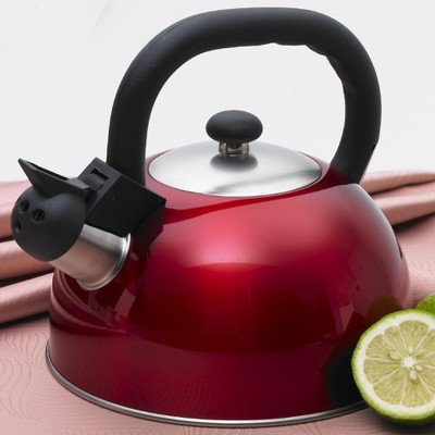 Creative Home Satin Mist Metallic Stainless Steel Whistling Tea Kettle, 2.6-Quart, Cranberry