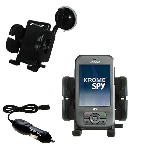 Krome Spy Flexible Auto Windshield Holder with Car Charger - Uses Gomadic TipExchange