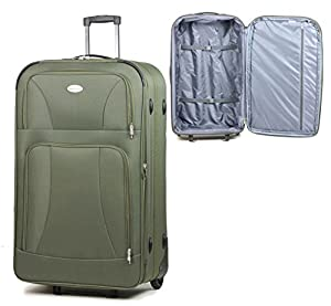 Expandable Great Quality Luggage Wheeled Suitcase Trolley 9218 Khaki