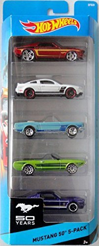 Hot Wheels Mustang 50th 5-Pack '69 Ford Mustang / 2010 Ford Mustang GT / '65 Mustang / '63 Mustang II Concept / Ford Mustang Fastback Model: 1806 (Ford Mustang Ii compare prices)