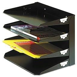 Steelmaster - Steelmaster Multi-Tier Horizontal Letter Organizers Four Tier Steel Black \