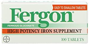 Fergon Iron Supplement, Tablets, 100 Count