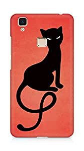 Amez designer printed 3d premium high quality back case cover for Vivo V3 Max (Red gracious evil black cat)