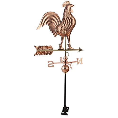 RUDY HARDWARE Classic Polished Copper Rooster Weathervane with Adjustable Roof Mount, Increase Curb Appeal for Home, Barn, Shed or Garden Décor, Full, 24