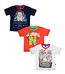 MYFAA Baby Boys' Cotton T-Shirts, Combo of 3 (BOY3P-123-18-24M, Multi-Coloured, 18-24 Months)