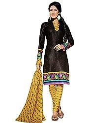 Kamal Women's Cotton Black Printed Dress Material