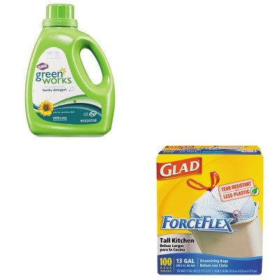 Kitcox30319Cox70427 - Value Kit - Clorox Naturally Derived Liquid Laundry Detergent (Cox30319) And Glad Forceflex Tall-Kitchen Drawstring Bags (Cox70427) front-609749