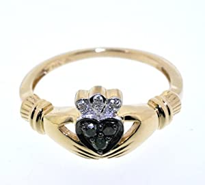 14K Yellow Gold Diamond Claddagh Ring from DIN