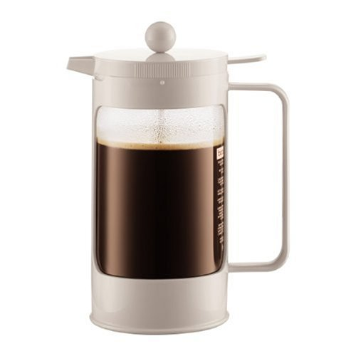Bodum Bean French Press Coffeemaker with Locking Lever Lid, 8-Cup (34-Ounce), White