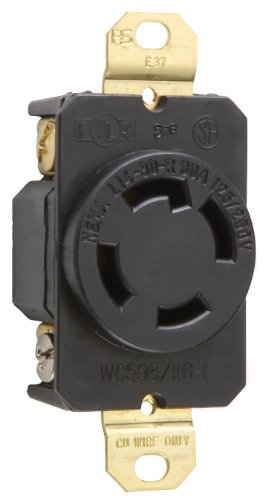 Pass & Seymour L1430Rccv3 Industrial Specification Grade Turn Lock Receptacle, Four Wire 30-Amp 125-Volt/250-Volt Ip20 Regulation Suitable
