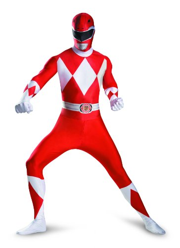 Men's Mighty Morphin Power Rangers Red Ranger Bodysuit Costume - M, XL, XXL